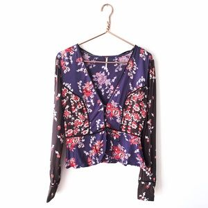 Free People | Floral Button Front Shirt Small